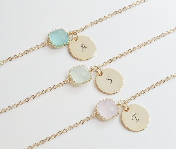 Personalized Bracelets | Birthstone & Initial Bracelet | Birthstone Bracelet | Initial Bracelet | Bridesmaids Bracelets | Gift