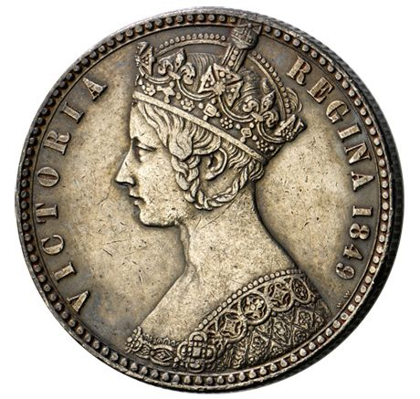 The 'Godless' florin, 1849 - Queen Victoria - so called due to  the omission of the words DEI GRATIA and FIDEI DEFENSOR from Queen Victoria's titles on the first florins struck, that was soon corrected.