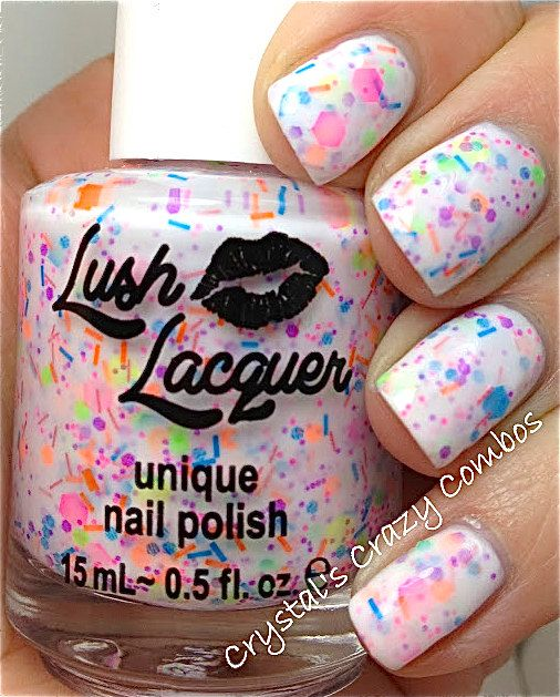 NEW Neon--Haywire:  Custom-Blended NEON Glitter Nail Polish / Lacquer. $9.00, via Etsy.