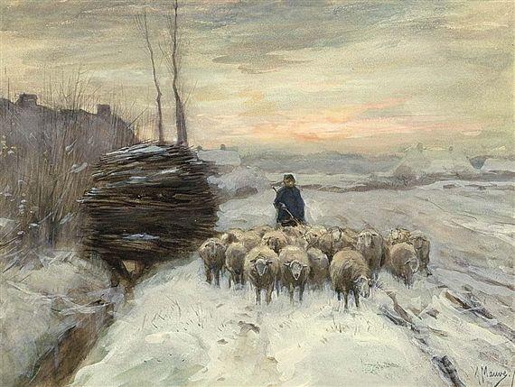 Anton Mauve - A SHEPHERD WITH HIS FLOCK IN A WINTER LANDSCAPE; Medium: watercolour and gouache
