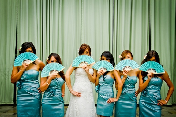 so pretty! love the color and the fans wedding-ideas