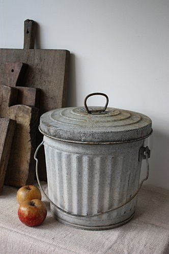 Say goodbye to the plastic trash can! I use old galvanized pails like these for the recycling and organic kitchen scraps too. You can find them as small as this or larger than your standard kitchen garbage can.