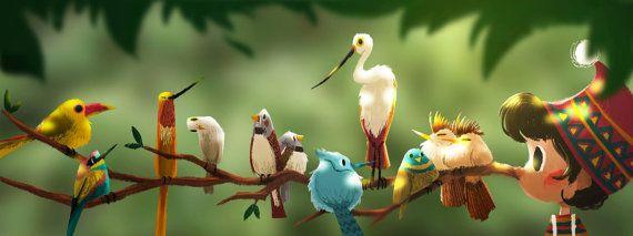 Pinocchio and Birds 7X2.6 Art Print Optional Matting by YiJenLiu