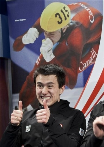 Patrick Chan reacts to him being on the Canadian Olympic Team for Vancouver 2010 after winning the Men's figure skating competition at the 2010 BMO Canadian Figure Skating Championships in London, Ontario, Canada.