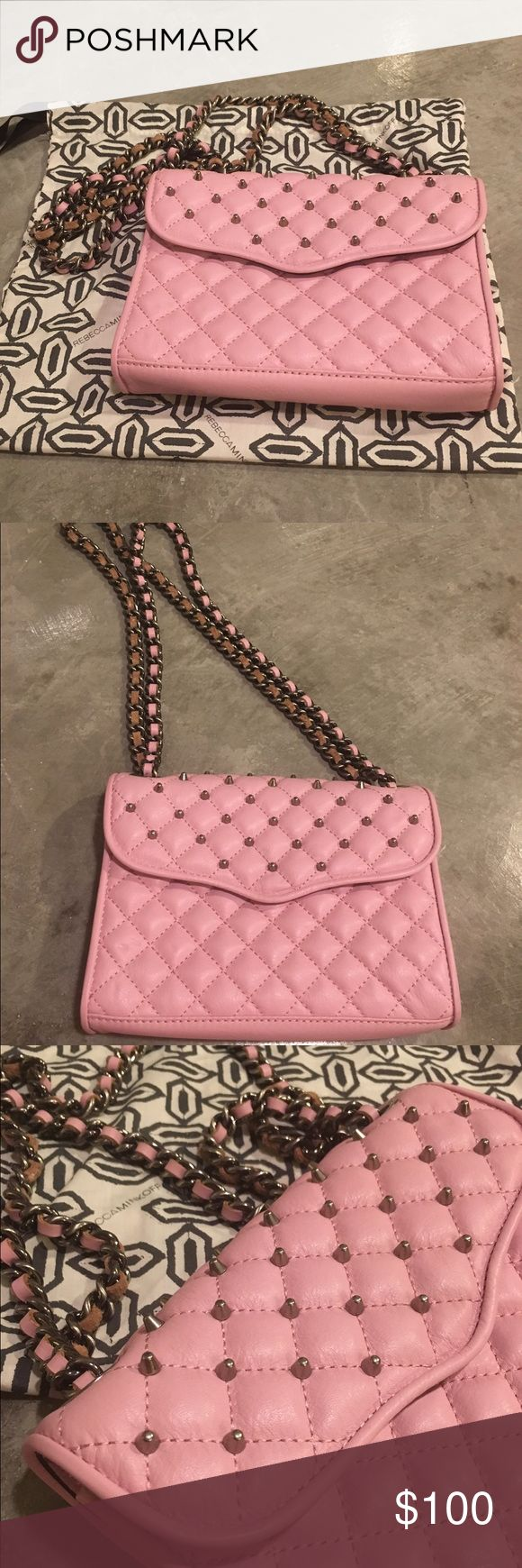 Rebecca Minkoff Quilted pink purse 💗 Rebecca Minkoff Pink Quilted purse with chain strap and silver studs. Can be worn as a cross body or on your shoulder. Excellent condition - only used one time! Rebecca Minkoff Bags Crossbody Bags