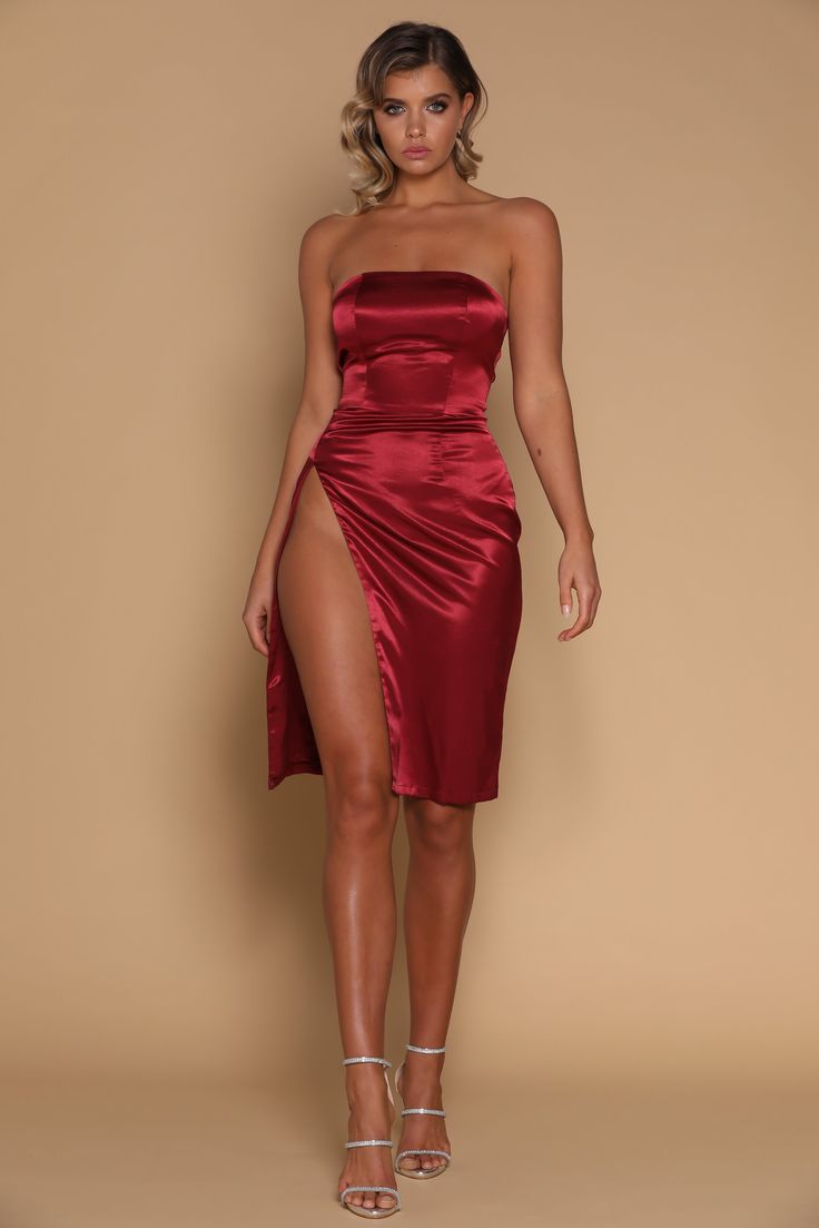 Alayna Satin Strapless Midi Dress - Burgundy - MESHKI