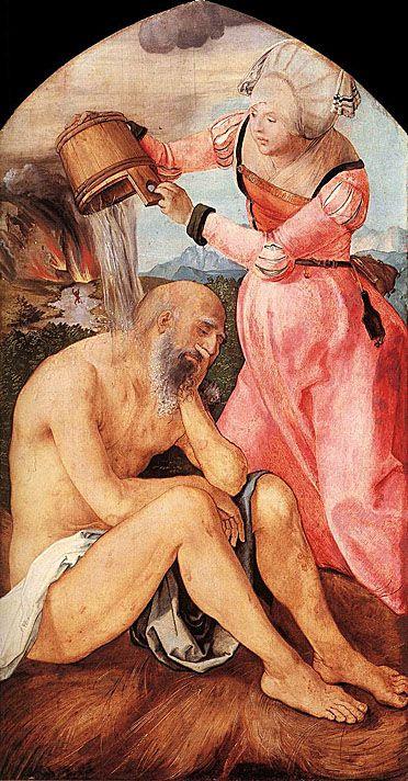 Albrecht Durer (1471 - 1528) - Job and His Wife - c.1504