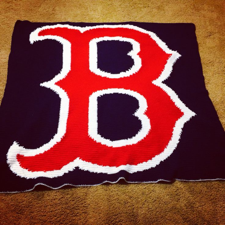 Crocheted Boston Red Sox blanket