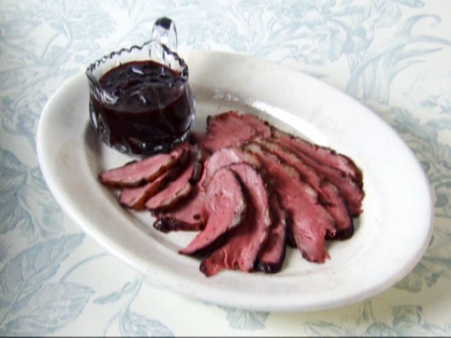 Duck Breasts with Citrus Port Cherry Sauce from FoodNetwork.com.  Might want to cook this for Christmas