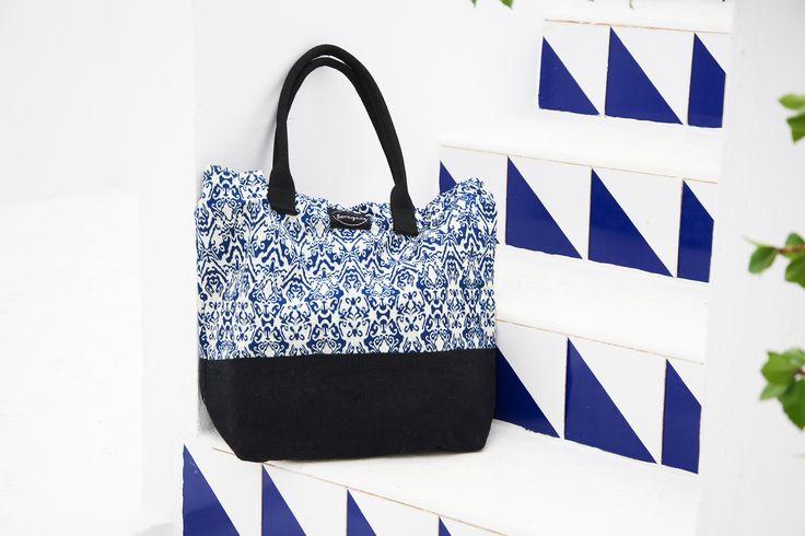 Blue Batik and Black Jute Big Tote Bag