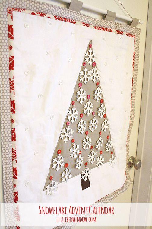 Snowflake Christmas Tree Advent Calendar, cute DIY advent calendar on littleredwindow.com #christmas #advent #snowflake