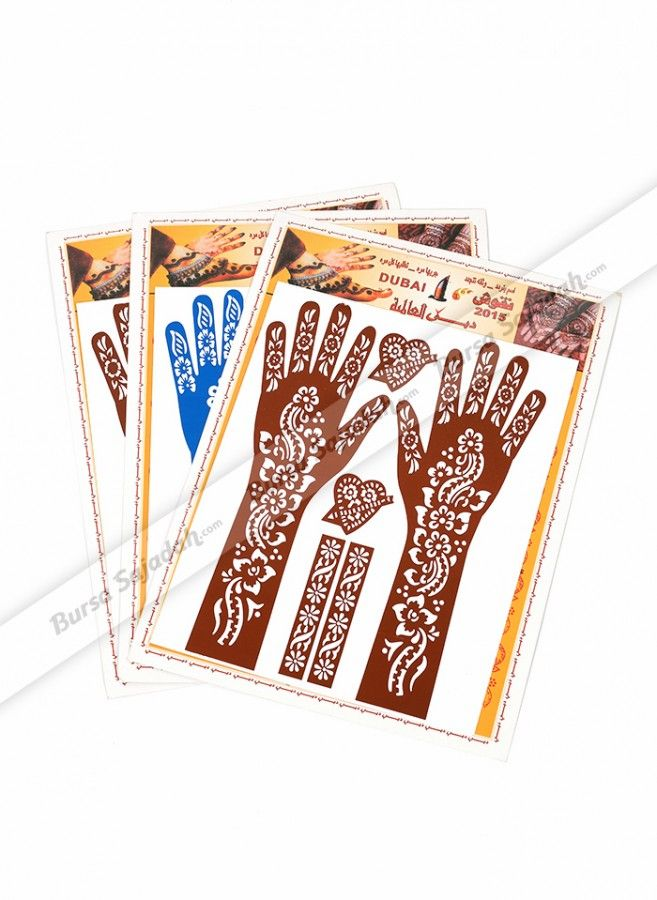 Berkreasi dengan Henna kini semakin mudah dan indah! Gunakan Kertas Cetak Rajah Dubai ini bersama Henna pilihan Anda dan dapatkan penampilan feminine dan elegan dari motif floralnya yang artistik. Kertas cetakan yang digunakan pada tangan ini dilengkapi cetakan tambahan bermotif cantik yang bisa Anda aplikasikan pada bagian tubuh lainnya.