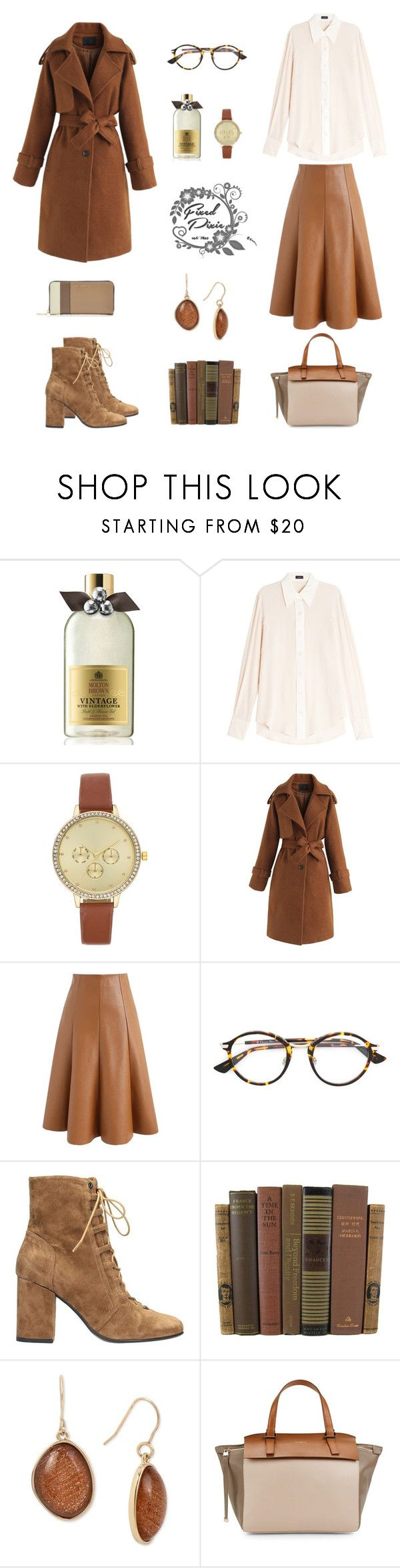 """""""caramel world"""" by fixedpixie ❤ liked on Polyvore featuring Molton Brown, Joseph, Chicwish, Christian Dior, Lola Cruz, Kenneth Cole, Furla, Marc Jacobs, skirt and brown"""