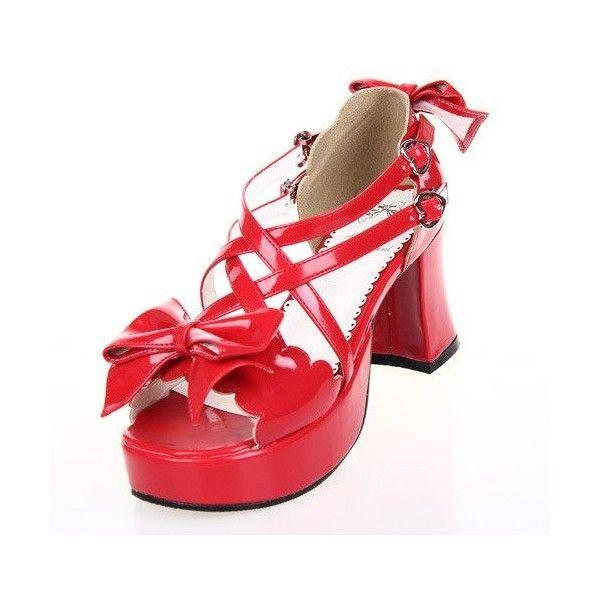 Amazon   Cosplayitem ロリータサンダル ロリータ靴 ロリータシューズ ハイヒール 太めヒール プラットフォームシューズ... ($26) ❤ liked on Polyvore featuring shoes