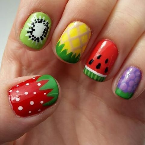 7.Simple Mixed fruit nail art for you