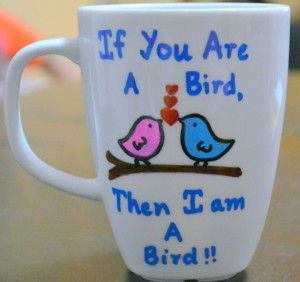 Cup With A Design That Is Beautiful And Romantic Words