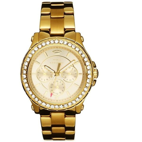 Juicy Couture Pedigree Gold Bracelet Watch ($250) ❤ liked on Polyvore featuring jewelry, watches, gold, gold wrist watch, juicy couture bracelet, bracelet watches, crown bracelet and yellow gold bracelet