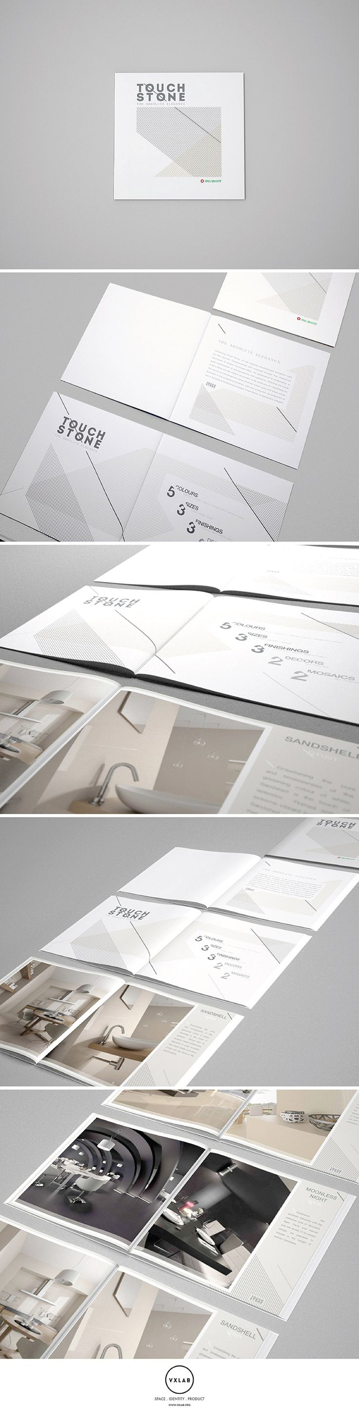 Brochure Design and Interior 3D rendering to promote Touch Stone Collection by Niro Granite. Editorial Design and 3D by VXLAB. www.vxlab.org | #stationary #corporate #design #corporatedesign #identity #branding #marketing < repinned by www.BlickeDeeler.de | Take a look at www.LogoGestaltung-Hamburg.de