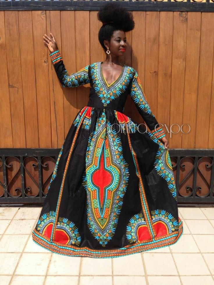 Dashiki Gown/ Dashiki Dress/ African Prom Dress/ Ankara Dress/ African Dress/ African Styles/ African fashion by AdinkraExpo on Etsy
