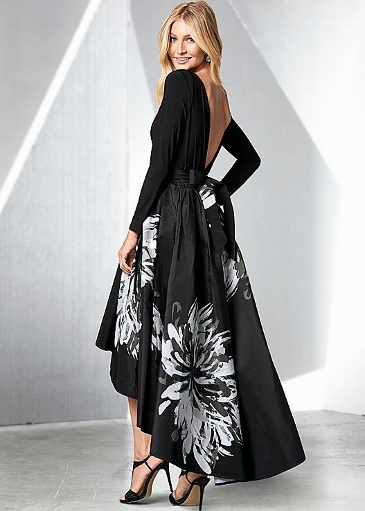 High low dresses black long sleeve venus