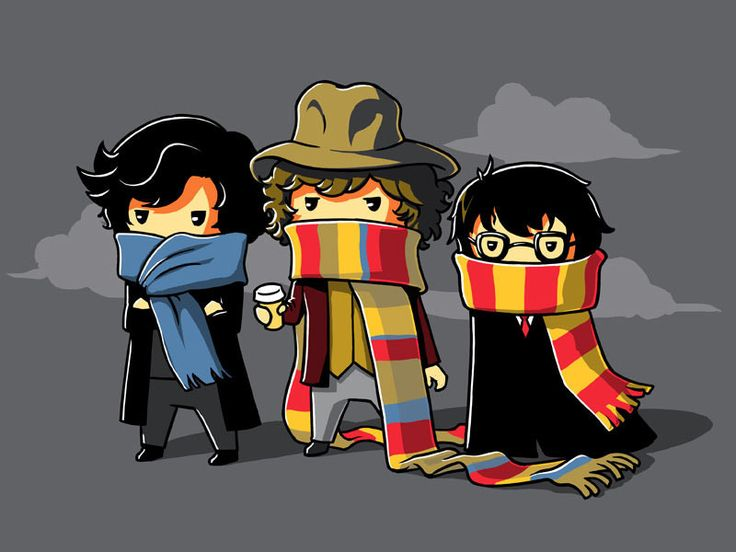 Sherlock, Doctor Who, and Harry Potter scarf tee | cute scarves nerdy fandom graphic tshirt