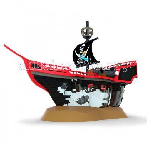 """Интерактивная игрушка Море чудес Пиратский корабль с рыбкой-акробатом  Игровой набор содержит необычный аквариум в виде интерактивного пиратского корабля, в трюме которого плавает рыбка-акробат Акула. У пиратского корабля поднимается парус, пушки корабля могут заряжаться и стрелять """"черепами"""". На палубе корабля расположены штурвал и бочка с провиантом, которая может переворачиваться. А за штурвалом корабля и на мачте разместилась его команда - скелеты.  Игрушечная роборыбка работает от…"""