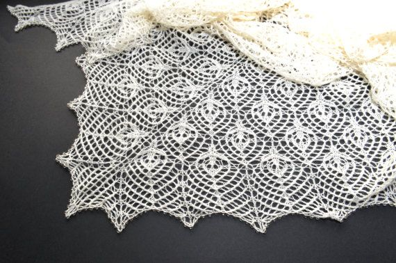 Wedding Lace Shawl Hand Knitted Lace Shawl Ecru Lace Shawl #WeddingShawl #HandKnitted #LaceShawl #Ecru
