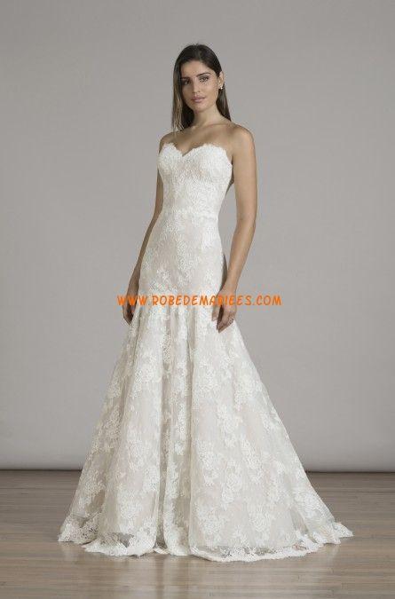 Robe de mariée dentelle sans manches col en coeur sirène charment