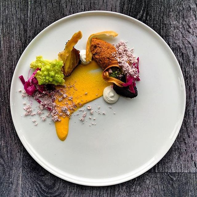 Pumpkin • romesco cremé • wasabi • pickled cabbage • browned butter & beet powder • salsify • salt baked beets. By @knivkalle