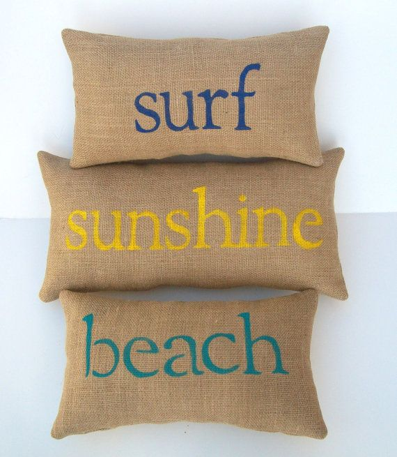 burlap beach pillows, surf, sunshine, beach pillows, beach lover, surfer, beach decor, yellow, navy blue, aqua blue pillows, custom made