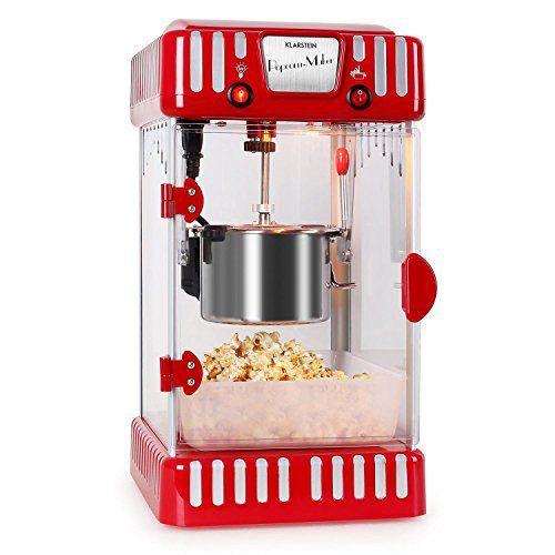 Klarstein Volcano Machine à pop corn style rétro (300 W, bol amovible de 74 mL, bras mélangeur, éclairage interne, réceptacle à pop-corn…