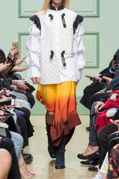 J.W.Anderson - Layered Dégradé Stretch-crepe Midi Skirt - Bright orange - UK
