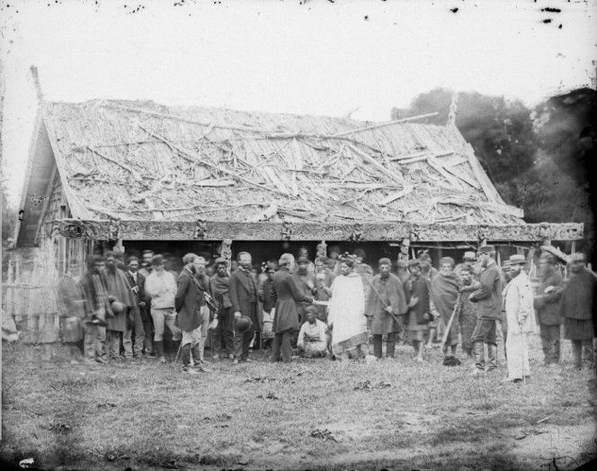 Meeting between Dr Isaac Featherston and Wanganui iwi at Putiki. Harding, William James, 1826-1899 :Negatives of Wanganui district. Ref: 1/1-000039-G. Alexander Turnbull Library, Wellington, New Zealand. http://natlib.govt.nz/records/22308262
