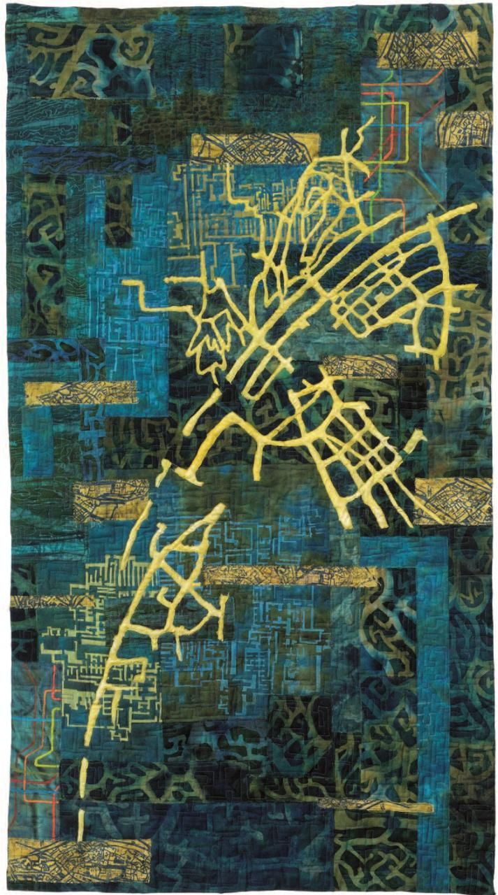 Eszter Bornemisza fabric map art quilt (Hungary). The artist uses maps, circuits and urban design drawings to create layered surfaces that reflect the underlying mystery of history and the spiritual journey of people.