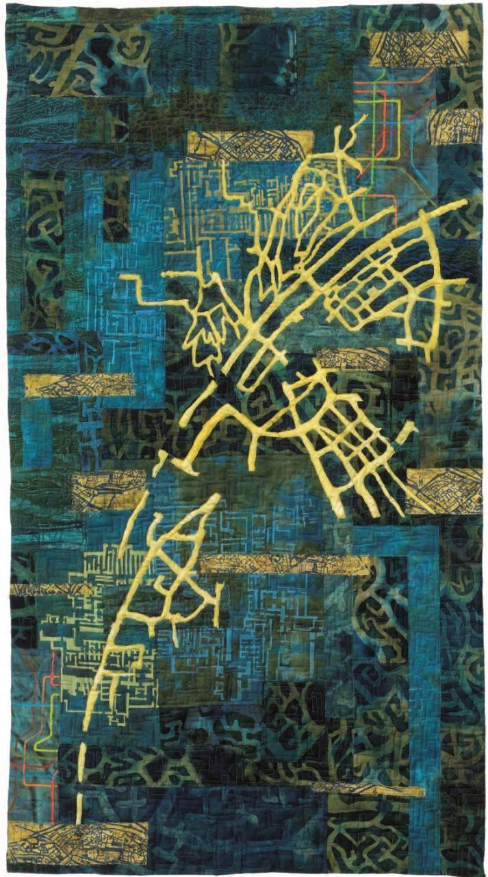 Eszter Bornemisza fabric map art quilt (Hungary). The ...