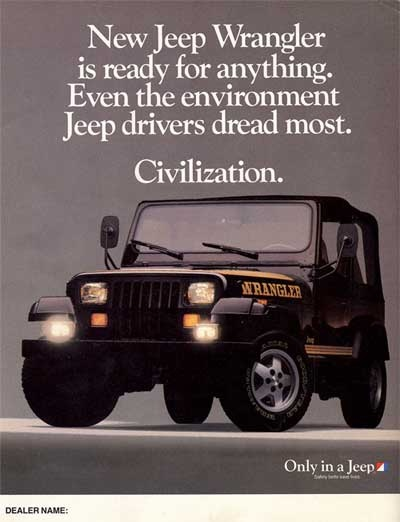 1988 Jeep Wrangler ad.