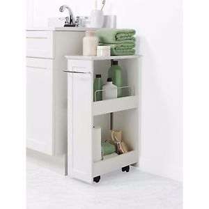 Rolling-Bathroom-Cart-Zenith-Towel-Storage-Tub-2-Shelf-White-Organizer-Kitchen