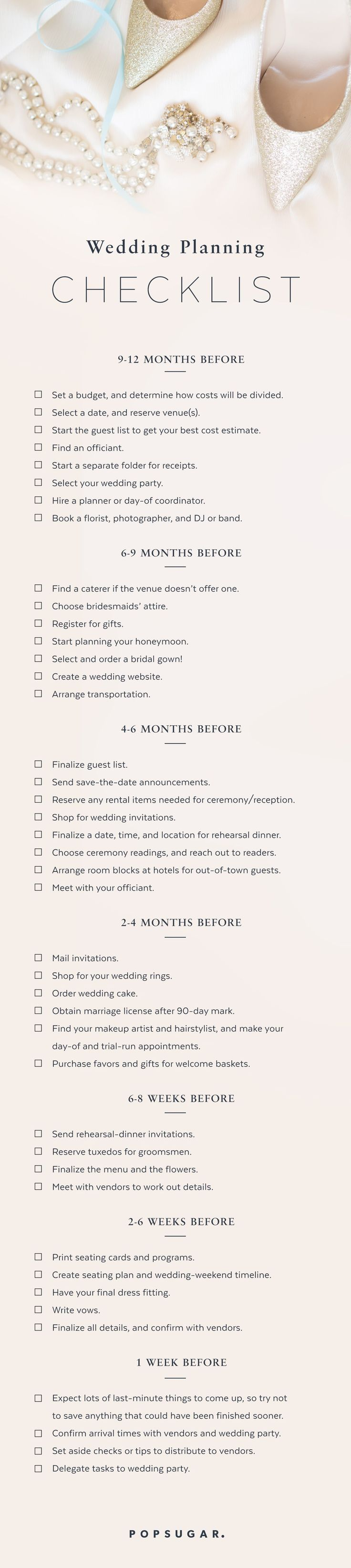 It's overwhelming when you're not sure what's next on the to-do list, so I've created a general timeline for brides out there who need the reminders or reassurance that they're already on track. Please visit my blog for more tips and ideas.
