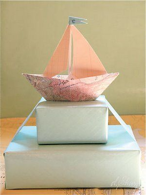 ✂ That's a Wrap ✂  diy ideas for gift packaging and wrapped presents - sailboat baby shower gift wrapping idea