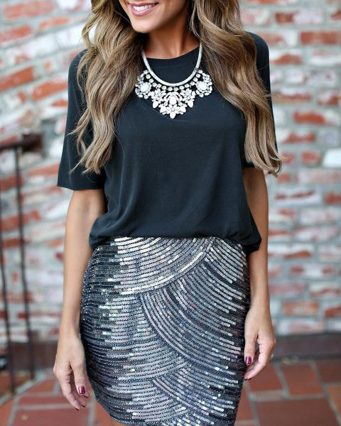 How To Dress Down A Sequinned Skirt - Just Add A Relaxed Jersey Tee & A Beautiful Bib Necklace
