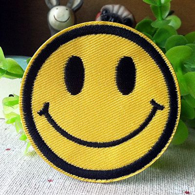 Happy Face Smile iron on patch E0259 by happysupply on Etsy, $2.50