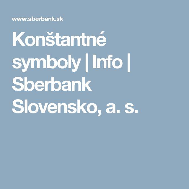 Konštantné symboly | Info | Sberbank Slovensko, a. s.