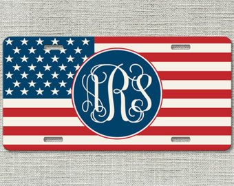 Monogrammed Car Tag - American Flag USA - Personalized Front License Plate 9258