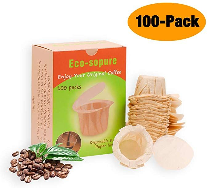 Disposable K Cup Paper Filter Disposable Paper Filters for Reusable K Cups Fits All Brands 100//Box