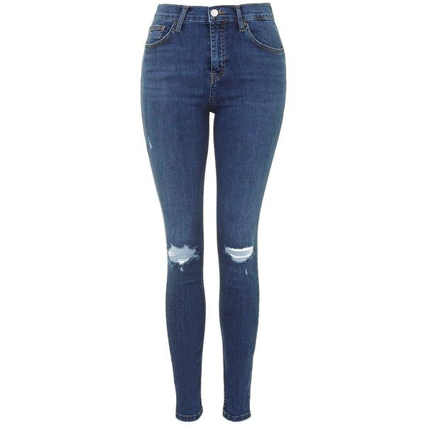 Blue Skinny Ripped Jeans ($64) ❤ liked on Polyvore featuring jeans, pants, bottoms, calça, ripped jeans, blue, skinny fit jeans, torn jeans, super destroyed skinny jeans and distressing jeans