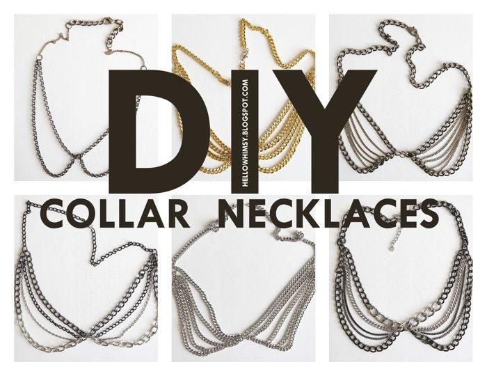 DIY: collar necklacesChains Collars, Collar Necklace, Decor Ideas, Diy Necklaces, Necklaces Crafts Diy, Diy Chains, Diy Collars, Peter Pan Collars, Collars Necklaces