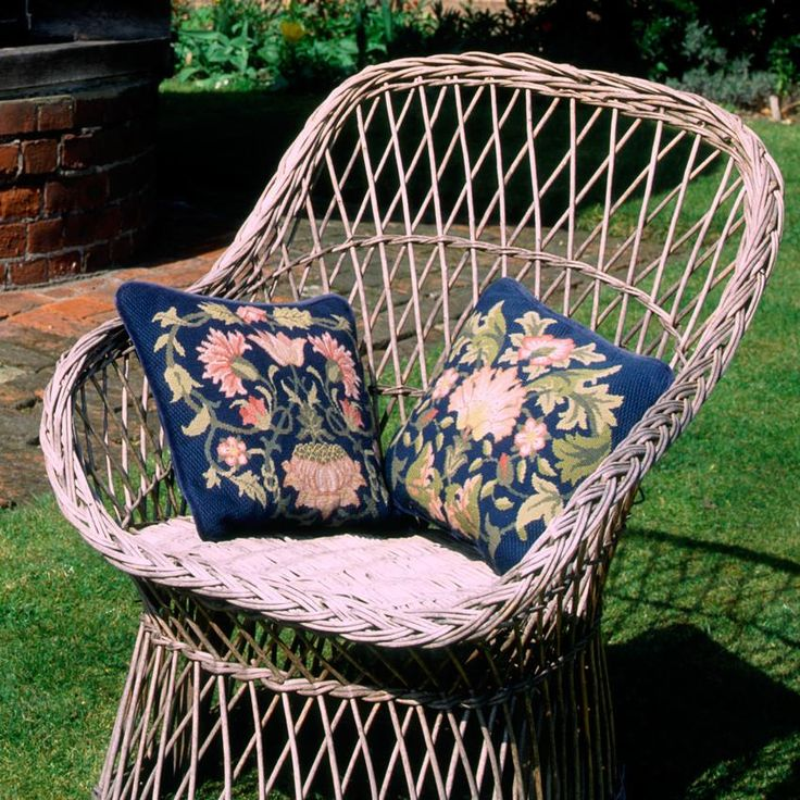 Lodden 2 needlepoint kit for cushion or chair seat. Lodden was designed by William Morris for printing on cotton or linen fabric and is the inspiration for Beth Russell's two designs. Each is available on a dark or light background.