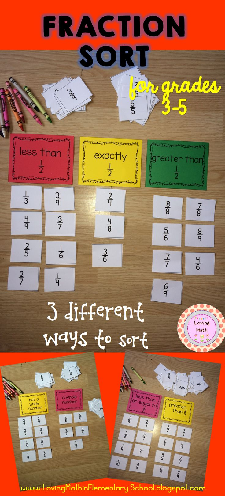 Practice fraction skills with this super fun sorting game! Your students will have a blast. Play in teams and compete for prizes.