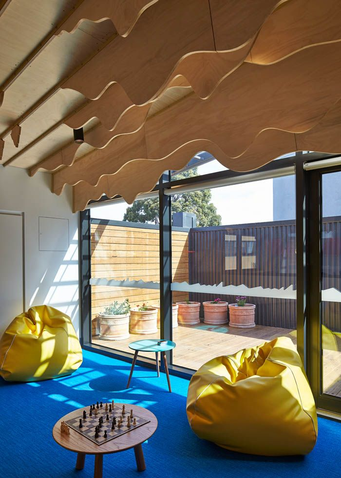 Chessboard In The Cubbyhouse At Broadmeadows Childrens Court With Yellow Bean Bags And Plywood Fins Suspended
