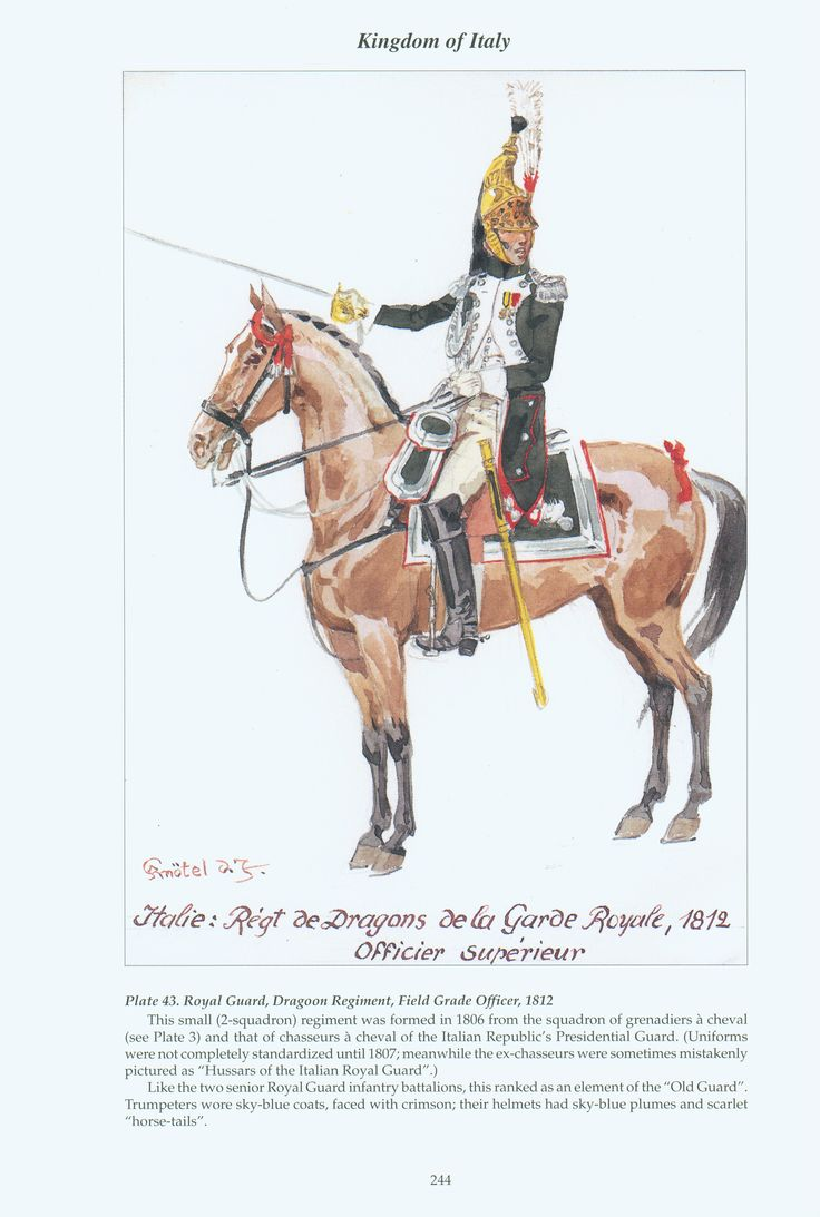 Kingdom of Italy: Plate 43: Royal Guard, Dragoon Regiment, Field-Grade Officer, 1812